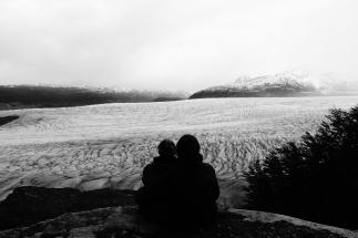 vernebelter Blick auf den Gletscher