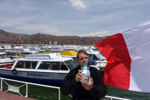 Auf dem Boot zu den Uros